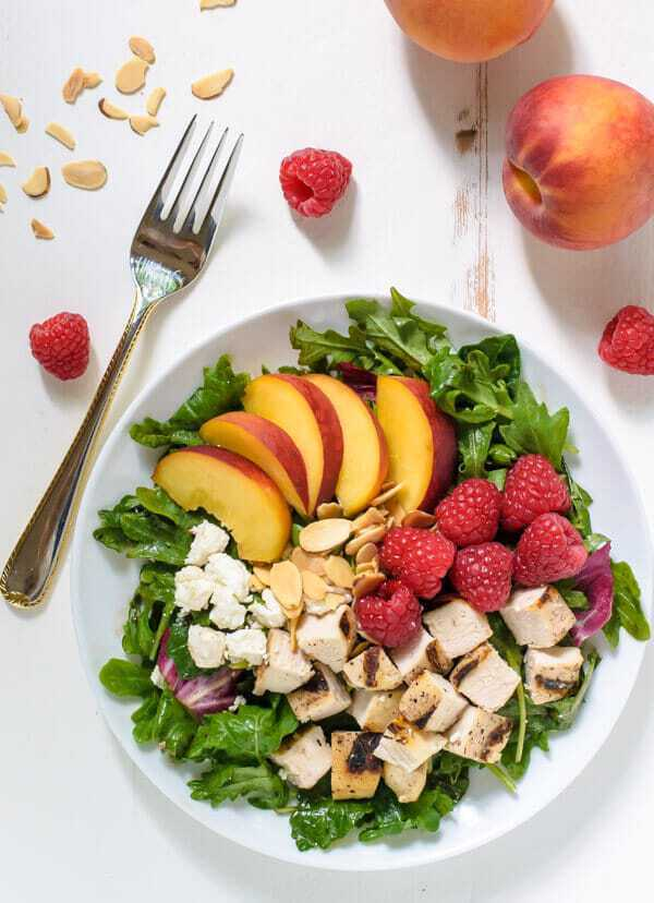 Peach & raspberry fruit salad