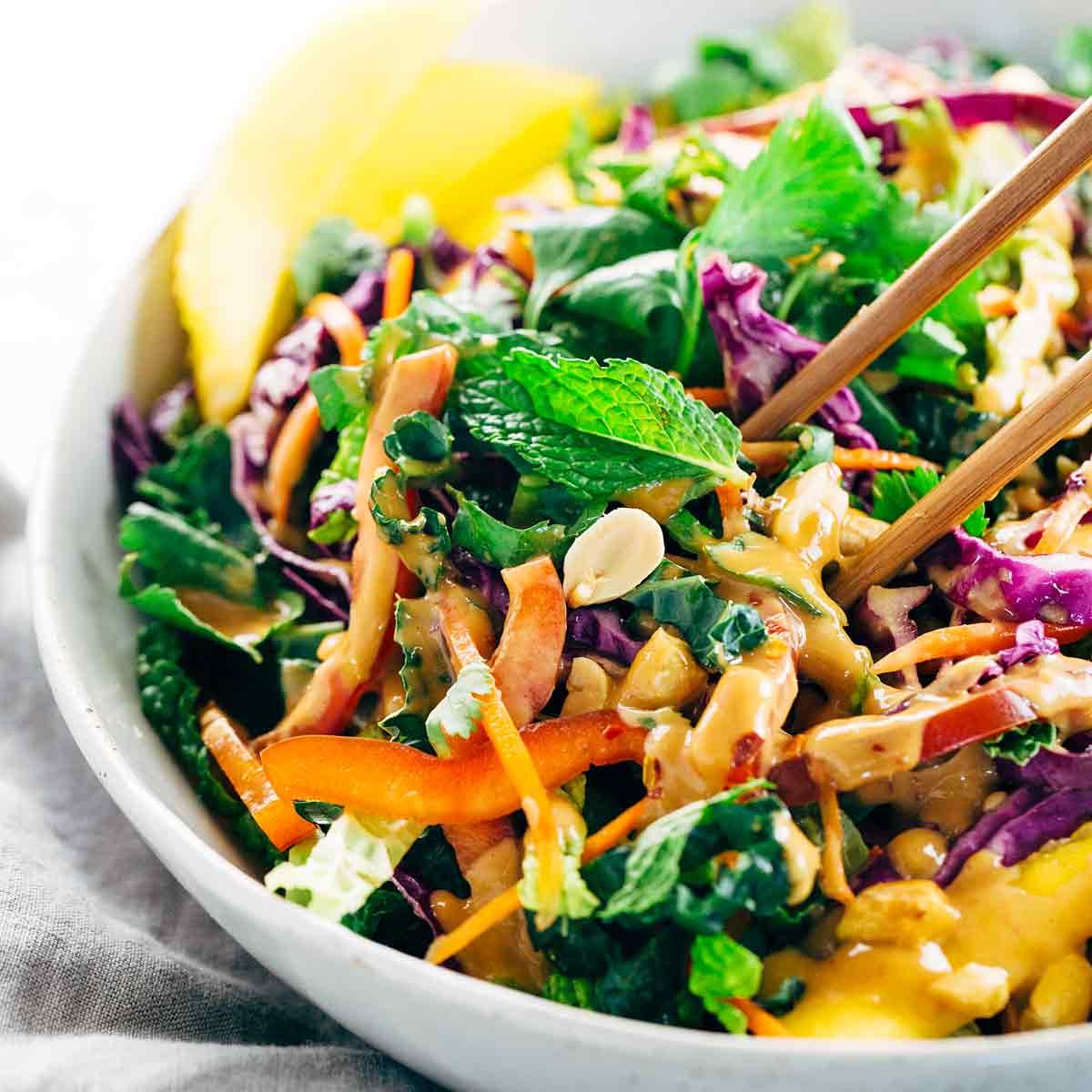 Rainbow beef salad