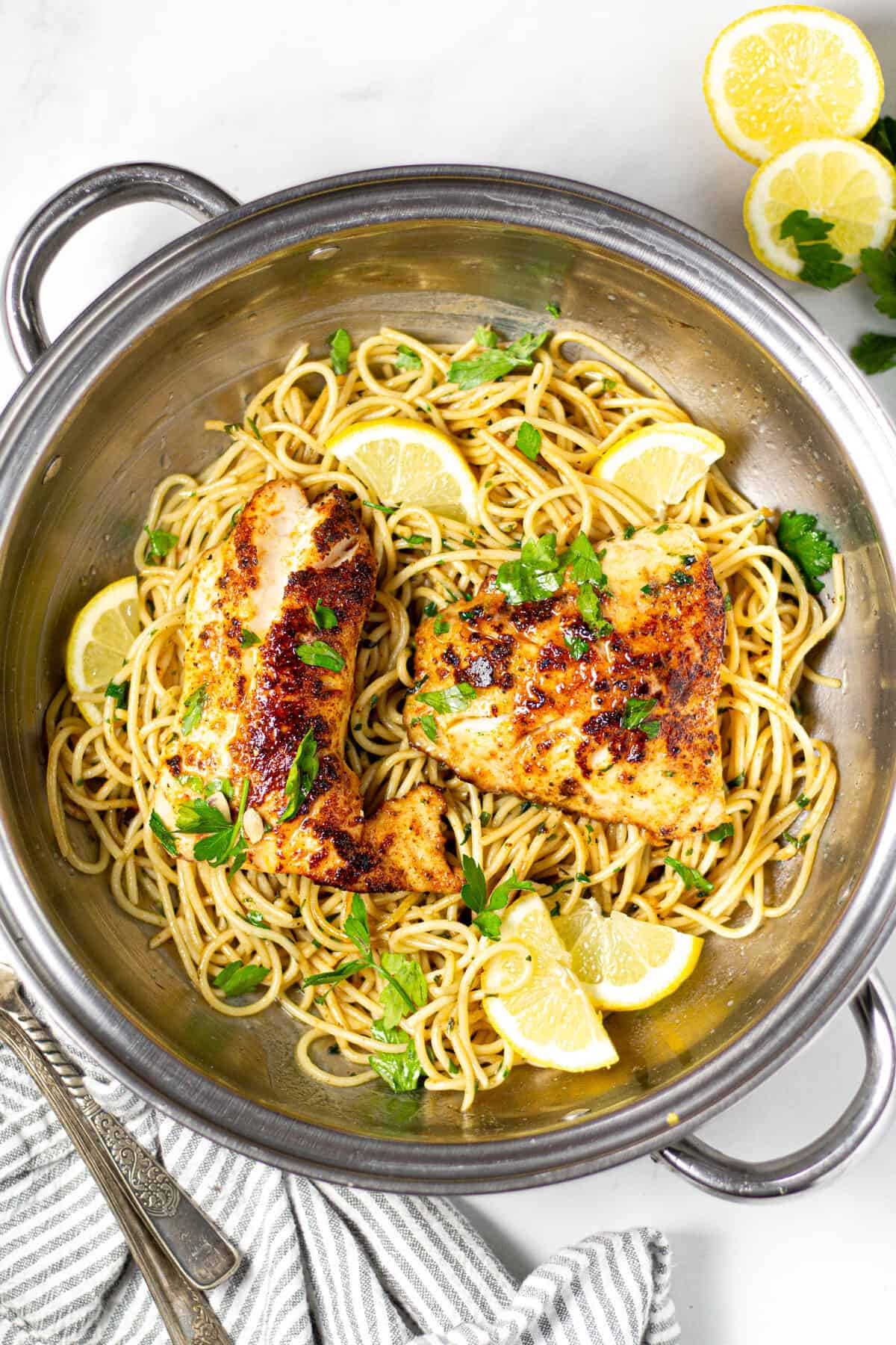 Pan-Seared with Lemony noodles